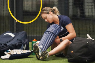 Star all-rounder Ellyse Perry prepares to bat during a Women's National Cricket League training session on Monday.