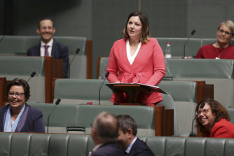 The federal member for Eden-Monaro, Kristy McBain, started her political career in local government. She is pictured giving her first speech in the House of Representatives at Parliament House in Canberra.