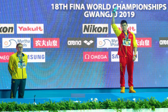 Mack Horton makes his protest during the 2019 FINA World Championships medal ceremony in Gwangju, South Korea.