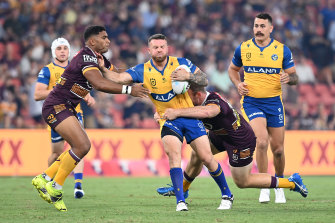 Nathan Brown carts the ball forward for the Eels.