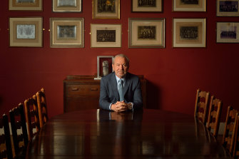 Lord Alan Sugar poses for portrait before addressing The Cambridge Union Society in 2016.