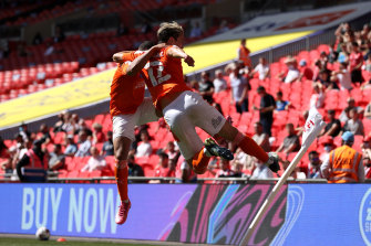 Kenny Dougall celebrates one of his playoff goals at Wembley.