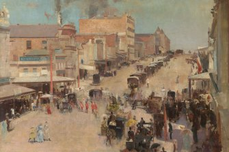 A classic: Tom Roberts, Allegro con brio: Bourke St West, cc 1885-86, reworked 1890