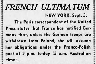 Extract from The Age published on September 3, 1939.