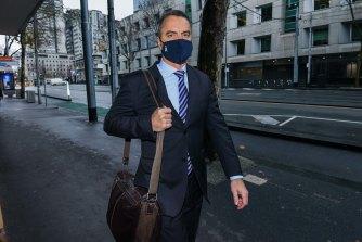 Commander Stuart Bateson arrives at court on Friday.