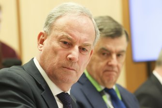 Minister for Senior Australians and Aged Care Services Richard Colbeck at the senate estimates hearing on Tuesday.
