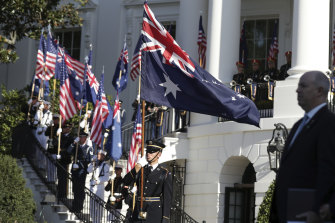 The ceremonial welcome for Prime Minister Scott Morrison and Jenny Morrison at the White House.