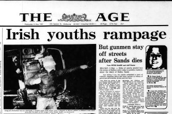 Front page of The Age first published on May 6, 1981.