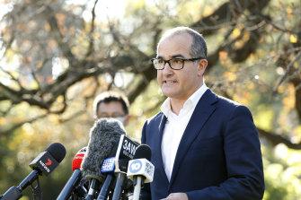 Acting Premier James Merlino addresses the media in Melbourne.