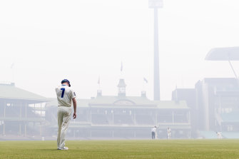 Bushfire haze at the SCG earlier this month.