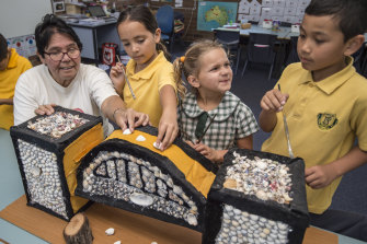 """""""In art and craft they're listening to us, our knowledge and how we can put the Aboriginal perspective into it,"""" Aunty Maxine said."""
