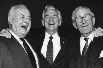 Former Prime Ministers Gough Whitlam, Bob Hawke and Malcolm Fraser appear together on June 29, 1992 for the 100th episode of Face the Press on SBS Television.