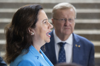 Queensland Premier Annastacia Palaszczuk, with AOC president John Coates, speaks to the media during a press conference after the IOC announced targeted dialogue ahead of the 2032 Brisbane Olympic Games bid.
