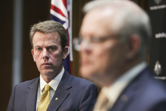 Pressure points: Federal Education Minister Dan Tehan  with Prime Minister Scott Morrison at a press conference last month.