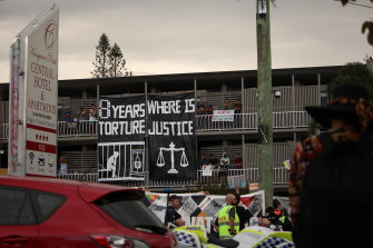 Brisbane refugee advocates have held long-running protests of the continued detention of 120 men in the Kangaroo Point hotel.