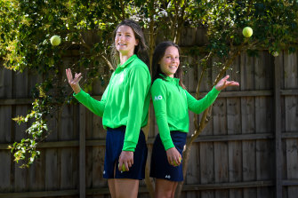Maddie Higgins with sister Lucy, who will join her this year as an Australian Open ball kid.