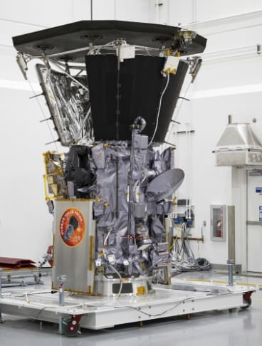 The Parker Solar Probe at Astrotech Space Operations in Titusville, Florida before being loaded on to the rocket for launch.