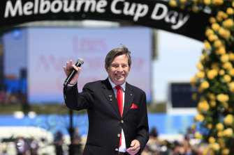 Singer John Paul Young waves after performing at the 2019 Melbourne Cup Day at Flemington Racecourse.
