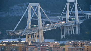 General view of the collapsed Morandi highway bridge in Genoa, northern Italy.
