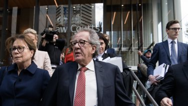 Geoffrey Rush leaves the Federal Court in April after his defamation win.