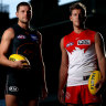 Respect ... Jacob Hopper of the Giants and Luke Parker of the Swans at the SCG on Tuesday.