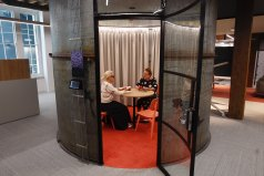 Tea for two: a top-level meeting in a converted tea silo.