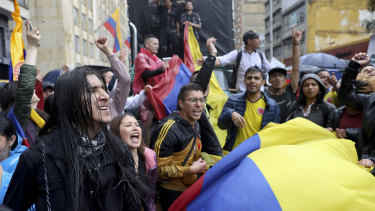 Students rally during a nationwide strike at the Bolivar square in downtown Bogota, Colombia, on Thursday.