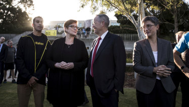 Hakeem al-Araibi with Foreign Affairs Minister Marise Payne, Opposition Leader Bill Shorten and Senator Penny Wong at a parliamentary soccer game on the Senate Oval on February 14.
