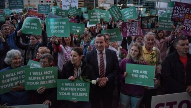 Premier Mark McGowan at a rally in support of the state government's euthanasia laws.