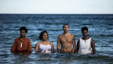 Director  Emele Ugavule (left) with actors Lesina Ateli-Ugavule, Tommy Misa and Iya Ware.