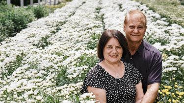 Aldo and Joanne Vumbaca at their flower farm.