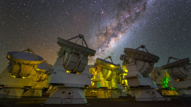 The Atacama Large Millimetre Array in the Chilean desert, part of the Event Horizon Telescope.