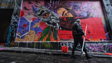 The Hosier Lane paste-up is Badiucao's first exhibition since his show in Hong Kong was cancelled.
