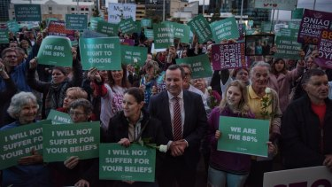 Premier Mark McGowan attends a rally in support of the state government's euthanasia laws, which are before the Parliament.