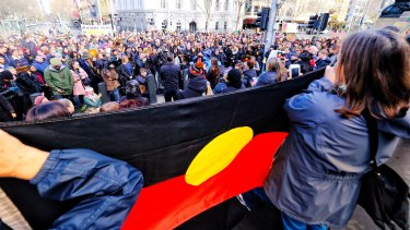 The protest on the steps of Parliament House on Tuesday.