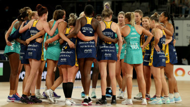 The Vixens and Lightning come together after their match during round nine of the Super Netball season.