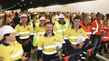Hundreds of workers from the NorthConnex project were on hand to watch the tunnel opening on Friday.