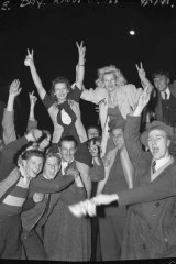 """The joy became infectious."" Revellers at Kings Cross, Sydney on May 8, 1945"