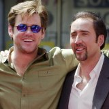 Jim Carrey and Nicolas Cage during Cage's handprint ceremony at Mann's Chinese Theatre.