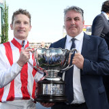 Silverware: Mark Zahra, left, and Anthony Freedman, right, at Caulfield.