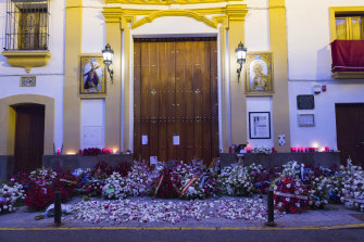 Flowers at the entrance of the Sailors' Chapel in Seville, Spain, after the Holy Week procession was cancelled.