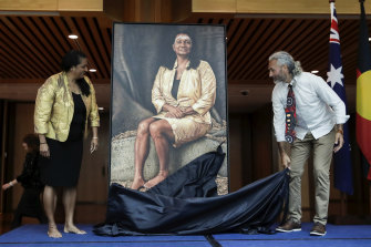 Aboriginal artist Dr Jandamarra Cadd unveils his official portrait of former Senator Nova Peris.