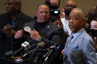 The Reverend Al Sharpton speaks after a guilty verdict was announced at the trial of former Minneapolis police Officer Derek Chauvin for the 2020 death of George Floyd