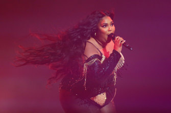 Lizzo performing at the Sydney Opera House, earlier this month.