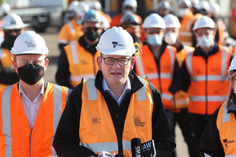 Daniel Andrews speaking to the media last month to announce the removal of the Edithvale level crossing.