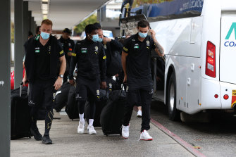 Richmond players seen at Melbourne Airport.