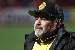 Diego Maradona in 2018, as coach of Dorados.