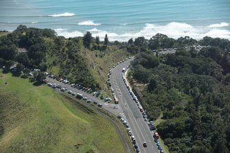 Up to 3000 cars were on a hill near Whakatane, where no one appeared to be left in the town.