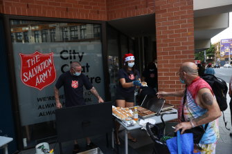 A Salvation Army Christmas sausage in Sydney in December.