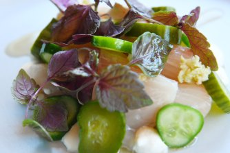 Raw Spencer Gulf Kingfish with cucumber, wasabi and white soy.